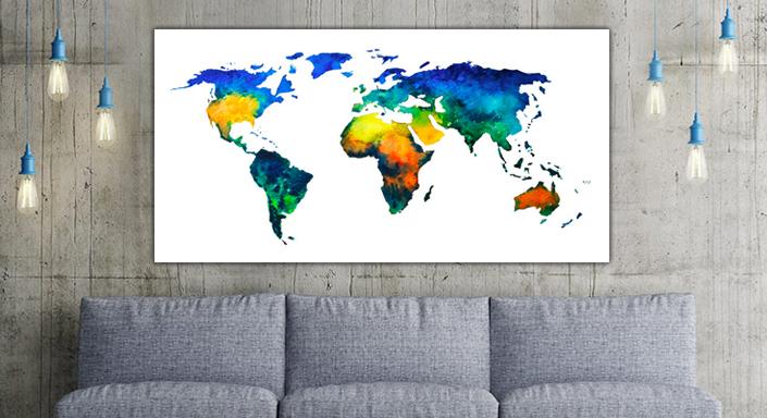 Kleurrijke Wereldkaart in Aquarel