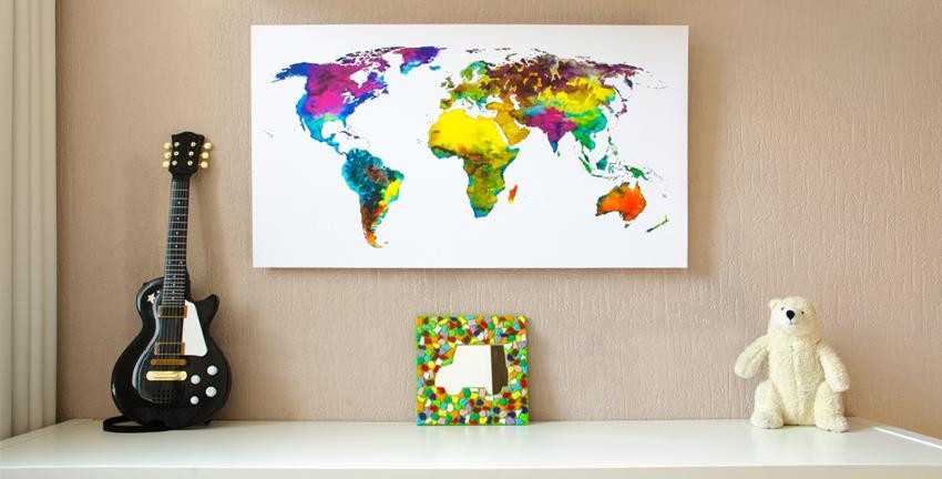 Wereldkaart Tropical op Kinderkamer-Klein 850x400