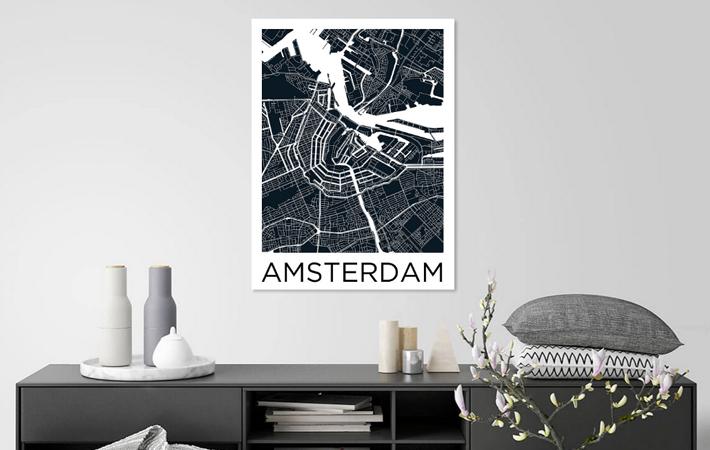 Amsterdam Stadskaart ZwartWit