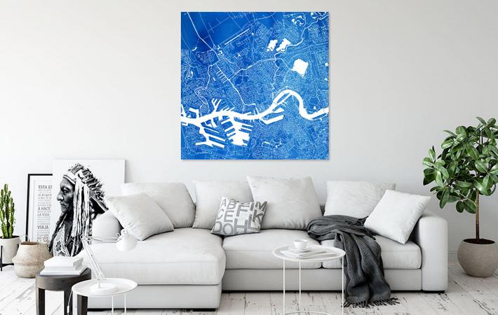 Rotterdam Blauwe Stadskaart in Aquarel Vierkant