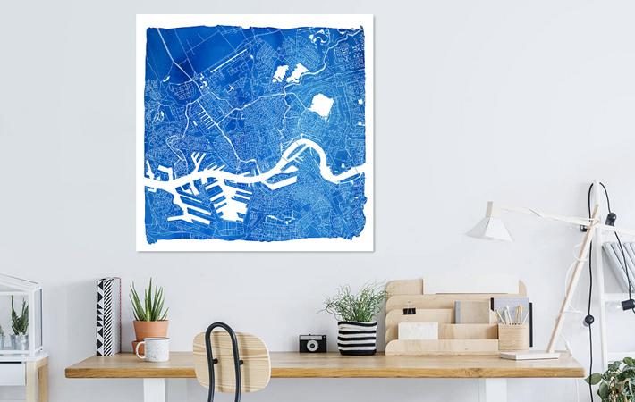 Rotterdam Blauwe Stadskaart in Aquarel met Witte Kader Vierkant