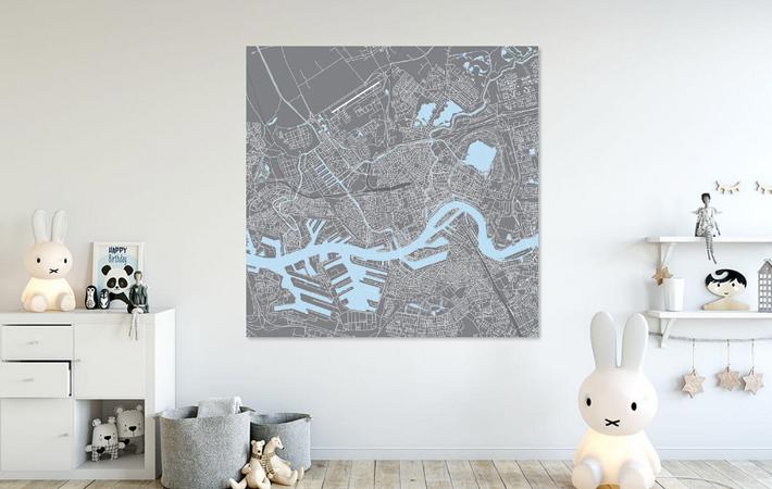 Rotterdam Grijs en Blauw Vierkant