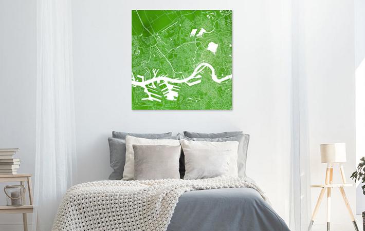 Rotterdam Groene Stadskaart in Aquarel Vierkant