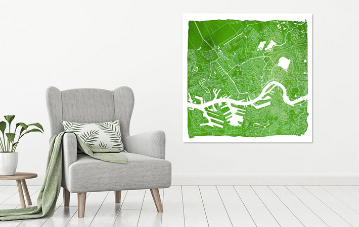 Rotterdam Groene Stadskaart in Aquarel met Witte Kader