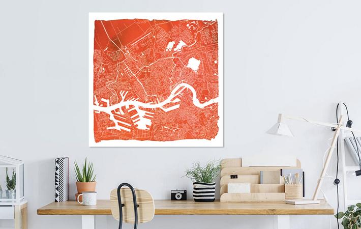 Rotterdam Rood Vierkant met witte kader