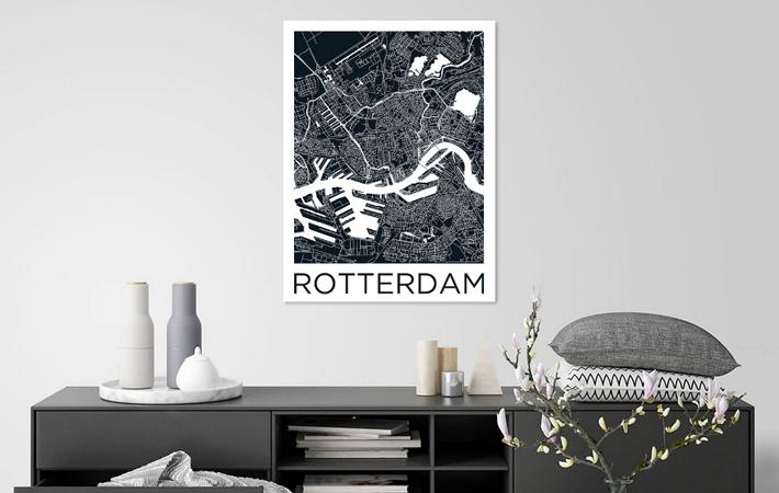 Rotterdam Stadskaart ZwartWit