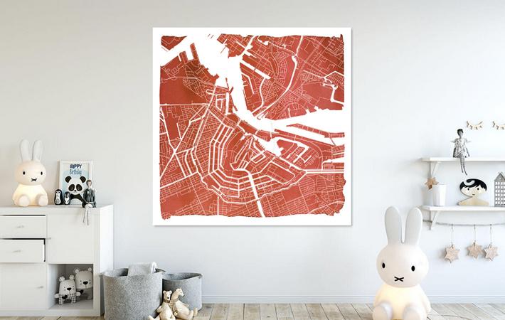Amsterdam Centrum en Noord | Stadskaart Rood | Vierkant met Witte kader